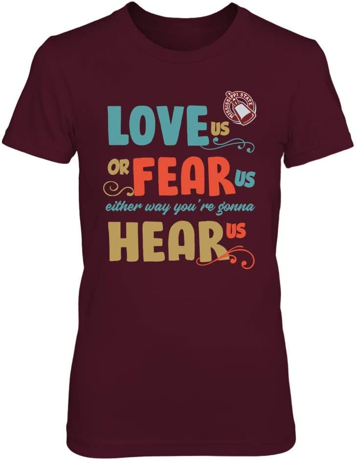 Retro Style Love Us Fear Us FanPrint Mississippi State Bulldogs T-Shirt