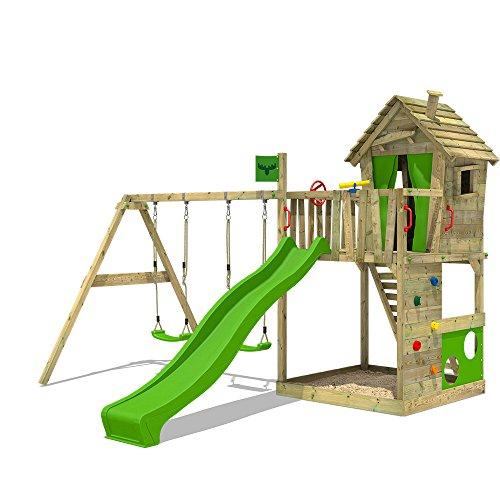 51m7gXFqSsL. SS500 XXL Parques infantiles diseño colorido incl. conjunto de accesorios completo - Con doble swing y playhouse Viga de columpio de 9x9cm, postes verticales de 7x7cm - Calidad y seguridad aprobada - Made in Germany Madera maciza impregnada a presión - 10 años de garantía* para todos los elementos de madera