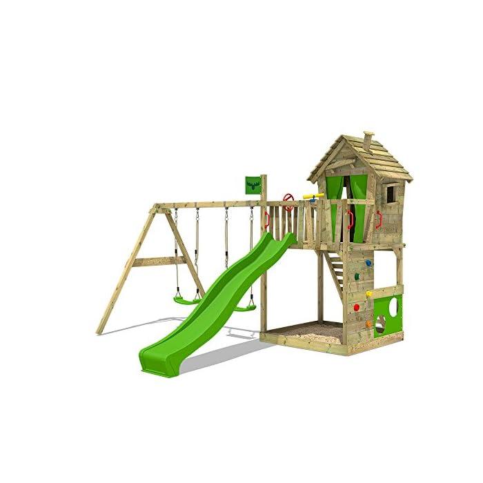51m7gXFqSsL XXL Parques infantiles diseño colorido incl. conjunto de accesorios completo - Con doble swing y playhouse Viga de columpio de 9x9cm, postes verticales de 7x7cm - Calidad y seguridad aprobada - Made in Germany Madera maciza impregnada a presión - 10 años de garantía* para todos los elementos de madera