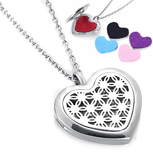 Perfume Locket Diffuser Necklace 316L Stainless Steel Heart Locket 12pcs Oil Pad