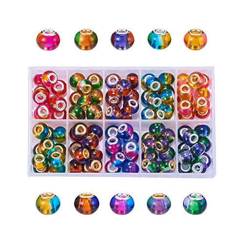 NBEADS 100 PCS Mixed Color Transparent Glass European Beads, Two Tone Large Hole Rondelle Beads European Charms fit Bracelet Jewelry - Glass Transparent Charm