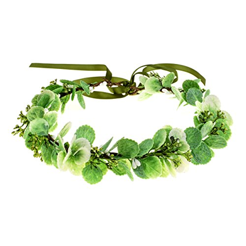 Floral Fall Adjustable Bridal Flower Garland Headband Flower Crown Hair Wreath Halo F-83 (Y-Green)]()
