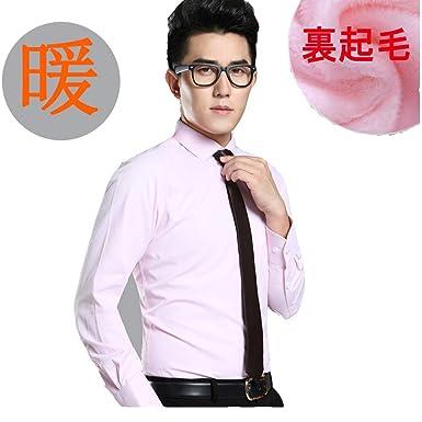 5030f70397e28b Amazon | ワイシャツ メンズ 裏ボア ビジネスシャツ 裏起毛 無地 厚手 暖かいシャツ 紳士風 通勤 冬 カジュアルシャツ あったか  ピンク3XL | シャツ 通販