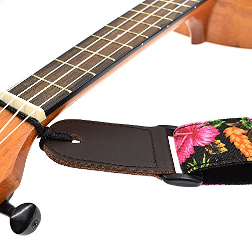 CLOUDMUSIC Ukulele Strap Hawaiian Hibiscus Roses Floral Strap For Soprano Concert Tenor Baritone (Hibiscus In Black) by CLOUDMUSIC (Image #4)