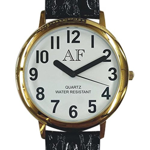 Unisex Low Vision Gold Tone Watch w/White Face
