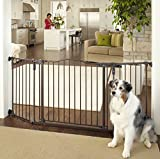 Deluxe Decor Wall Mount Matte Bronze Pet Gate, Extra Wide Fit, Hardware Mount Gates, Measures 38.3-72x30