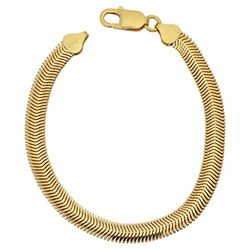 Kooljewelry Yellow Gold Over Sterling Silver 6.4mm Oval Snake Bracelet (7.5 inch) - Sterling Silver Snake Oval Bracelets