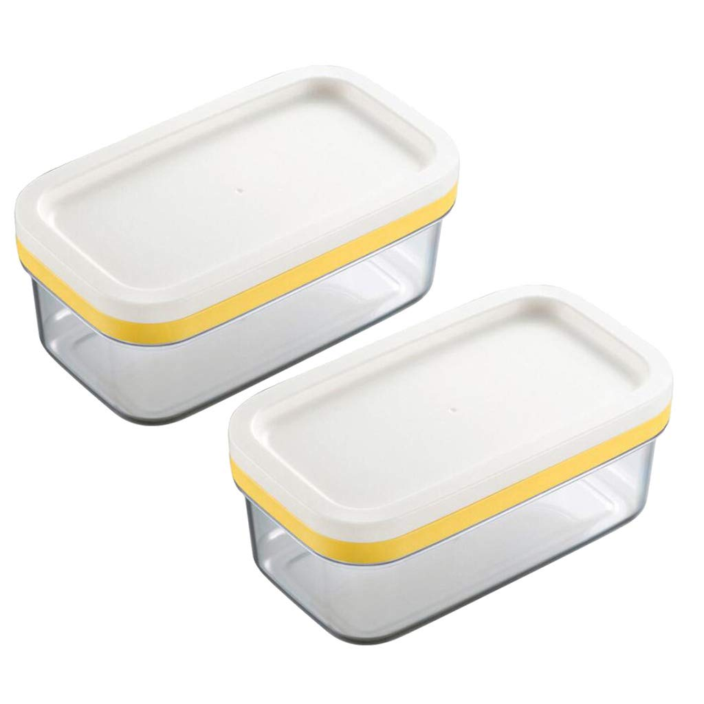 Fityle 2 in 1 Butter Dish Butter Slicer Cutter with Sealed Lid Butter Keeper Cheese Container Food Storage Candy Box Pack 2