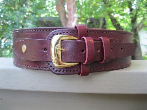 "Wine Genuine Leather .45 Caliber Cartridge Gun Belt 38"""