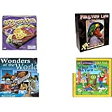 """Children's Gift Bundle - Ages 6-12 [5 Piece] - Aggravation, the Classic Marble Race Game - Pirate's Life Redbeard & Paully Puzzle 550 Piece - Brown Teddy Bear Brown Ribbon Plush Toy 5"""" - Wonders of"""