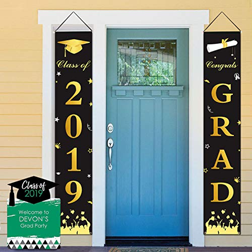 Dazonge Graduation Banner - Graduation Party Supplies 2019 - Congrats Grad & Class of 2019 Hanging Flags Banner - Indoor/Outdoor Graduation Decorations ()