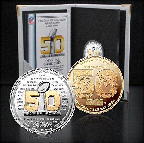 The Highland Mint NFL Denver Broncos vs Carolina Panthers Super Bowl 50 Official Two Tone Flip Coin, ()
