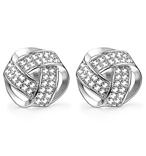 (Udalyn 1-2 Pairs 20G Twisted Love Knot Earring Stainless Steel CZ Stud For Women Silver-tone)
