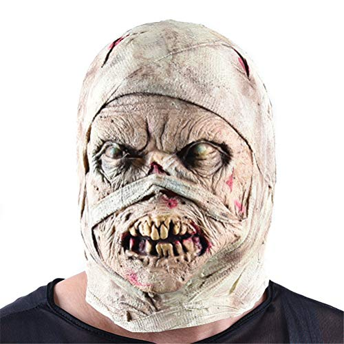 (Xinjiahe Halloween Mask Zombie Latex Bloody Scary Disgusting Full Face Mask Costume Party Cosplay Prop,Suitable for Most)