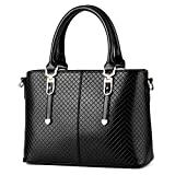 Handbags for Women/Girl Weitine Brand Hard/Strong/Water-Proof PU Leather Top Handle Satchel Tote Purse (black)