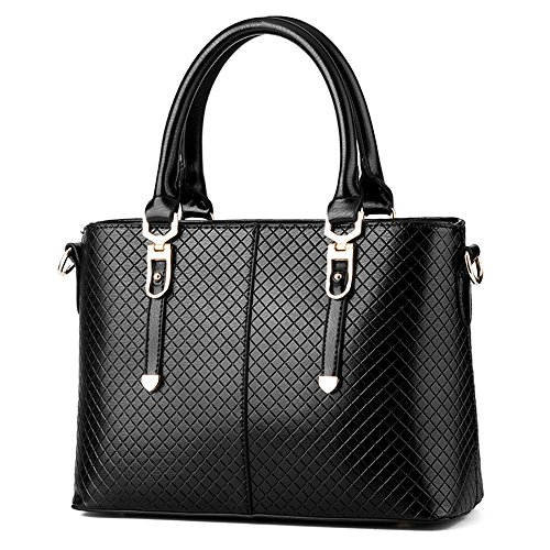 Handbags for Women/Girl Weitine Brand Hard/Strong/Water-Proof PU Leather Top Handle Satchel Tote Purse (black) by Vvting