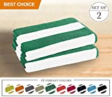 Luxor Linens- Large Beach & Pool Towel - 40''x70'' Oversized Cabana Stripe, Hotel Quality-Luxuriously Soft, Absorbent & Plush Towel Blanket - Luxury Anatalya Collection (2-pcs, Green)