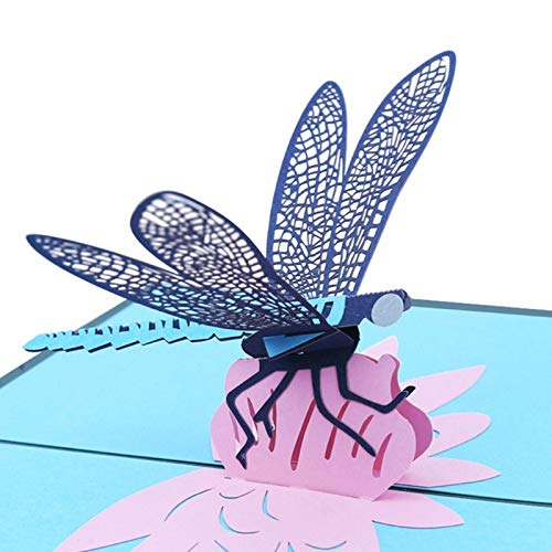 Bingo Point 3D Pop Up Greeting Card Dragonfly Handmade Birthday Christmas Wedding Invitation