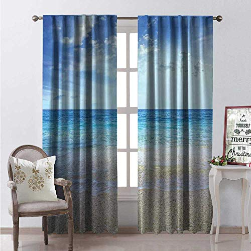 Hengshu Ocean Blackout Window Curtain Wavy Crystal Sea and Sky Clouds at The Sandy Beach Be Grateful to Nature Theme Customized Curtains W72 x L84 Cream Blue