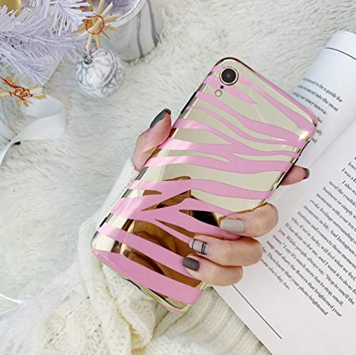 Case for iPhone XR Glitter Case Striped,YTanazing Cute Zebra Print Bling Gold Foil Design Slim Fit Soft Flexible Shockproof Protective Case Cover for iPhone XR-Pink ()