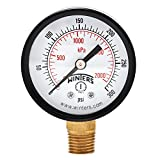 Winters PEM Series Steel Dual Scale Economical All Purpose Pressure Gauge with Brass Internals, 0-300 psi/kpa, 2