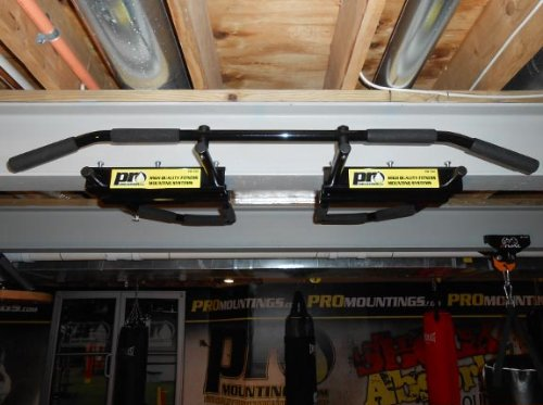 I-beam Pull Up Bar Black w/ Long Bent Bar 5-grip by PRO Mountings by PROmountings