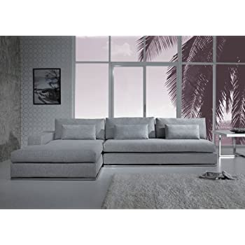 Amazoncom Anthem Grey Fabric Modern Sectional with Wood