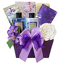 Art of Appreciation Gift Baskets Tranquil Delights Spa Bath and Body Set with Tea (Lavender)