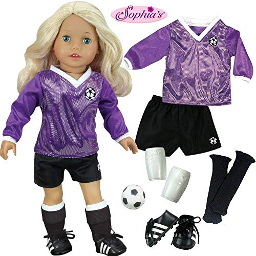 (Sophia's Doll Clothes for 18 Inch Doll Soccer Outfit, Ball, Shin Guards, Black Socks & Cleats, Complete 18 Inch Doll Sports Set, Fits American Girl Dolls)