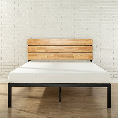 Zinus Paul Metal and Wood Platform Bed with Wood Slat Support, Single