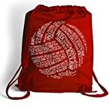 Volleyball Words Cinch Sack | Volleyball Bags by ChalkTalk SPORTS | Red