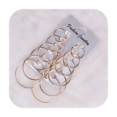 Defiro 6 Pair Hoop Earring Set Stainless stud Earring Women Jewelry Gold Tone