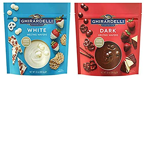 (Ghirardelli Melting Wafers Variety Pack with Ghirardelli White Chocolate Melting Wafers and Ghirardelli Dark Chocolate Melting Wafers. One Stop Shopping for the Best Tasting Melting Chocolate)