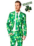 Suitmeister Patrick Clover Suit with Shamrock Print for Men Coming with Green Pants, Jacket, Tie and Free Shamrock Pin - 100%