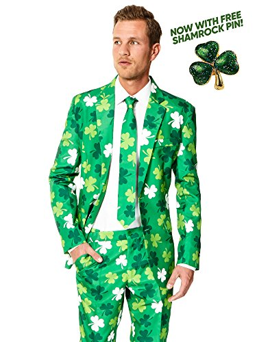 Suitmeister ST. Patrick's Day Clover Suit For Men Coming With Green Pants, Jacket, Tie and Free Shamrock - Man Suit Is