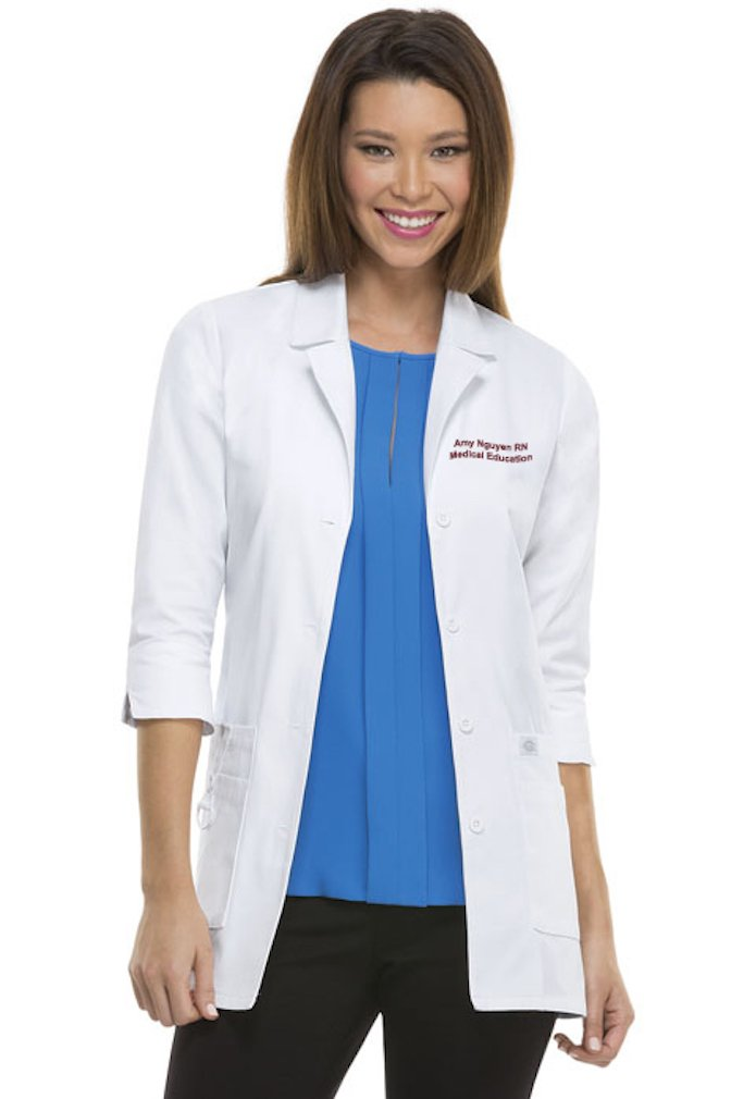 Cherokee Scrubs Embroidered Dickies Women's Junior Fit 3/4 Sleeve Lab Coat (XL, 82402)