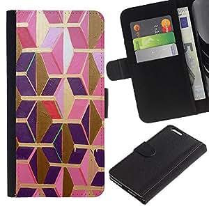 iKiki Tech / Cartera Funda Carcasa - Gold Pink Purple Polygon 3D Dimensional - Apple iPhone 6 Plus 5.5