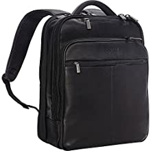 """Kenneth Cole Reaction Manhattan Colombian Leather Slim 16"""" Laptop & Tablet Checkpoint-Friendly Anti-Theft RFID Business Book Bag Backpack, Black, Medium"""