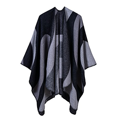 GERINLY Color Block Shawl Wrap Open Front Poncho Cape Winter Sweater Cover Scarf