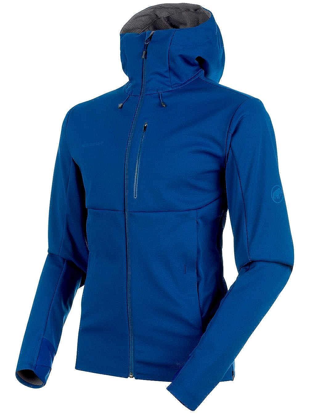 Ultramarine-Titanium Melange L Mammut Men's Ultimate V Softshell Jackets
