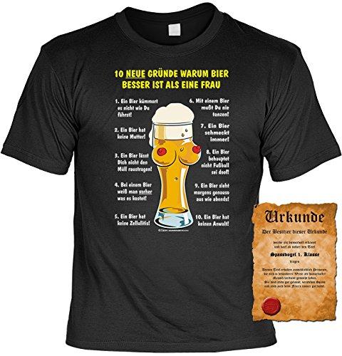 T-Shirt mit Urkunde - 10 Gründe, warum Bier besser ist als eine Frau - lustiges Sprüche Shirt als Geschenk für Leute mit Humor - NEU mit gratis Zertifikat!