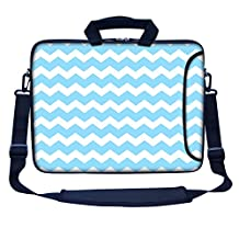 "Meffort Inc 17 17.3 Inch Neoprene Laptop Bag Sleeve with Extra Side Pocket, Soft Carrying Handle & Removable Shoulder Strap for 16"" to 17.3"" Size Notebook Computer - Light Blue Chevron Pattern"