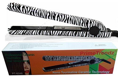 PrimeTrendz TM Professional Classic Zebra Hair Straightening Flat Iron with Tourmaline Ceramic Plates