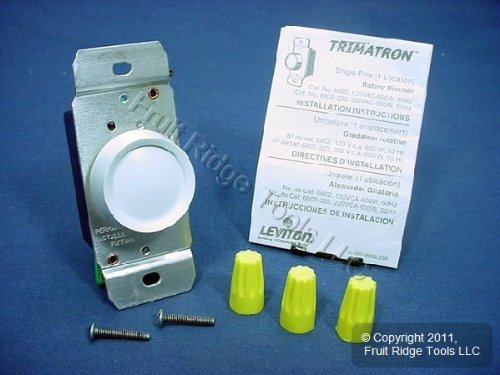 Leviton 6602-W Dimmer Switch, 600W Trimatron Incandescent Full Range Rotary ON/OFF - White