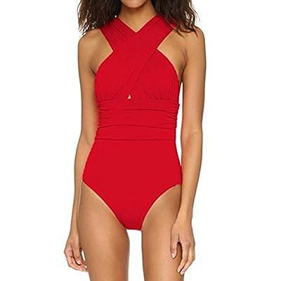 Allywit New Women's One Piece Bather Swimsuit High Waist Front Cross Swimwear