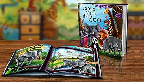 Personalized Story Book by Dinkleboo -Visits The Zoo - For Children Aged 0 to 8 Years Old - A Story About Your Child Going To The Zoo - Soft Cover - Smooth, Glossy Finish (8