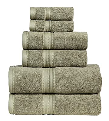650 GSM 100% Cotton 6 Piece Bath Towel Set,White, Monarch Collection Towel Set by Dream Castle