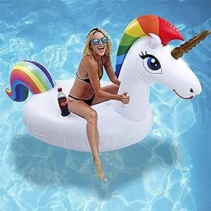 Cama Flotante de Unicornio - Hilera Flotante de Juguete Inflable de Montaje en Agua Grande con Válvula Rápida, Juguete Inflable para Fiesta en la ...