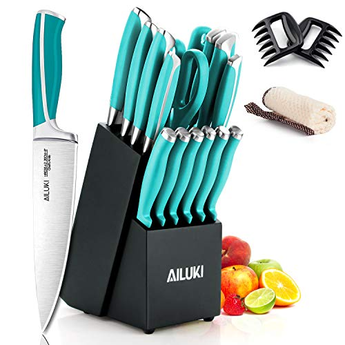 Knife Set, AILUKI 19 – Piece Kitchen Knife Set with Block Wooden and Sharpener, Professional High Carbon German Stainless Steel Chef Knife Set, Ultra Sharp Full Tang Forged Knife Block Set