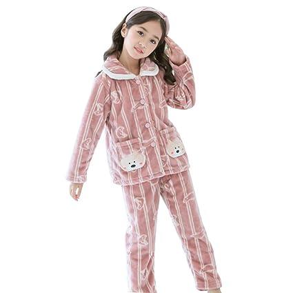 d816853d21bda Children's Pajamas Girls Flannel Autumn Winter Pajamas Thick Girl Pajamas  Warm Girls Pajamas Set (Color : Pink, Size : 140cm): Amazon.ca: Home &  Kitchen